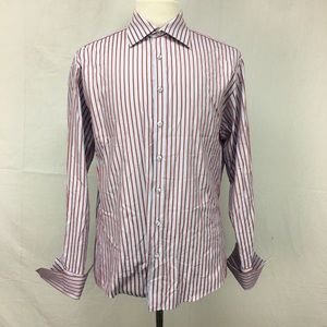 Pink Thomas Pink Red Striped Button Down Shirt
